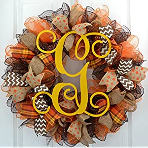 Fall Mesh Wreath | Brown Yellow Burlap Thanksgiving Monogram Letter Initial Mesh Door Wreath : F3 3