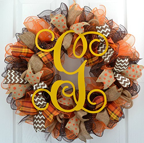 Fall Mesh Wreath | Brown Yellow Burlap Thanksgiving Monogram Letter Initial Mesh Door Wreath : F3 by Pink Door Wreaths