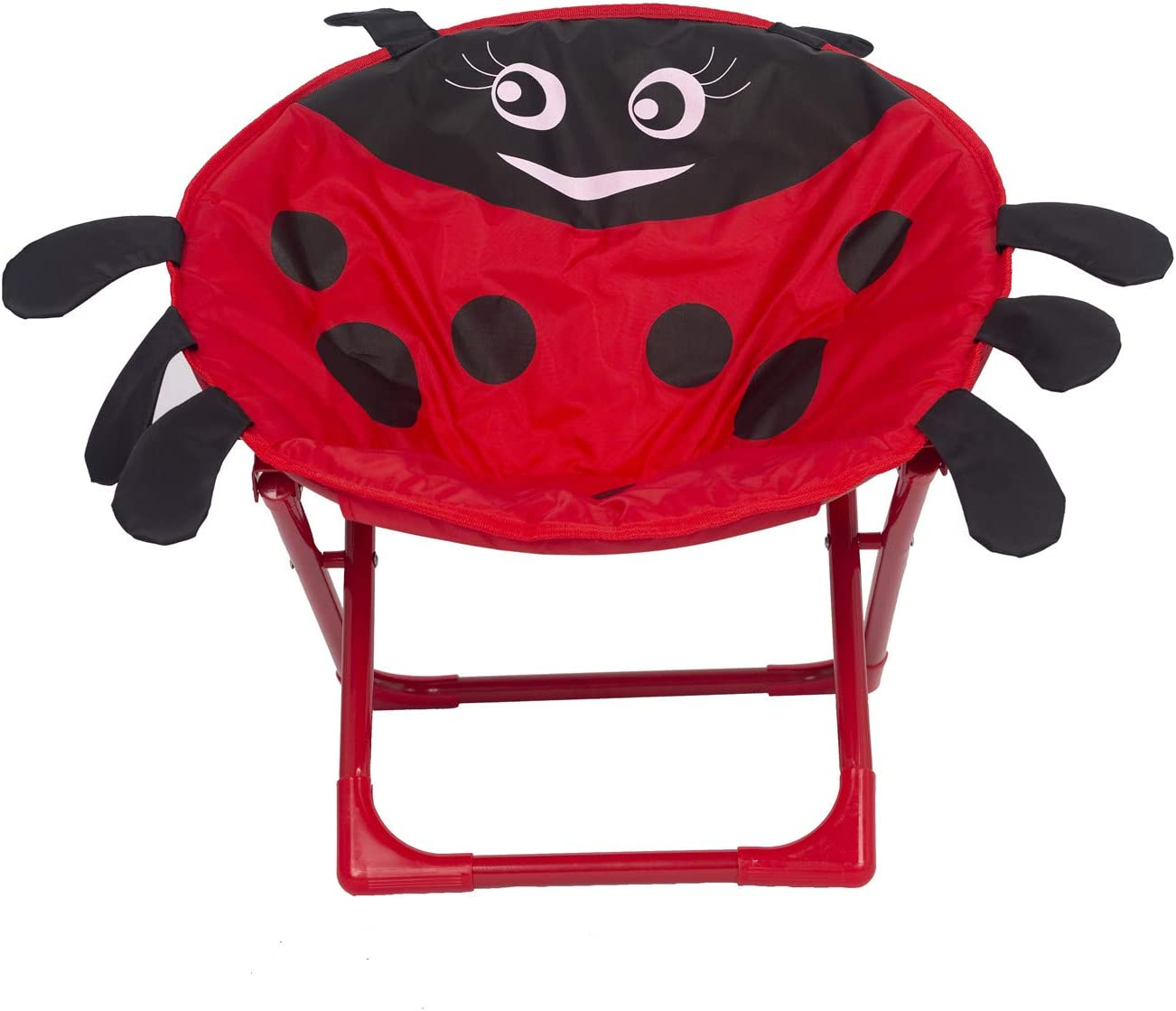 Elnsivo Saucer Chair for Kids Folding Moon Camp Chair for Children Toddler Indoor Outdoor Use, Red Ladybug