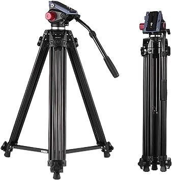 Andoer 170cm Caballete Fotográfico Trípodes Completos para Canon Nikon Cámara DSLR Sony, Cámara Video Trípode Carga Máxima 10kg Aleación de Aluminio, con Cabezal de Fluido 360°, Bolsa de Transporte: Amazon.es: Electrónica