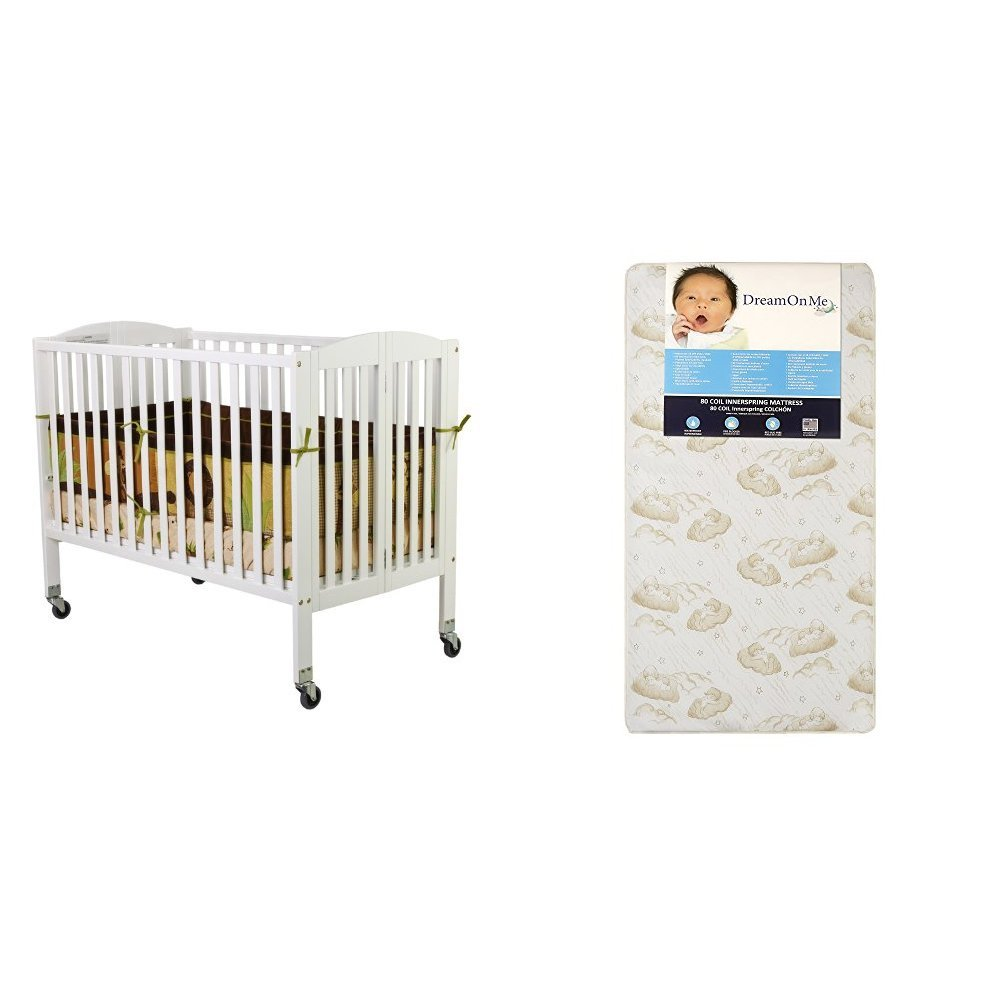 Dream On Me Folding Full Size Convenience Crib with Dream On Me Spring Crib and Toddler Bed Mattress, Twilight by Dream On Me