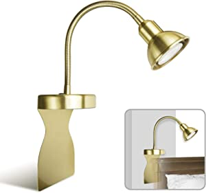 Solfres Innovative Design Headboard Reading Light. No Drilling. Golden Reading Lights for Books in Bed. Dimmable LED Book Reading Lamp with Bulb. Movable & Flexible, Gold