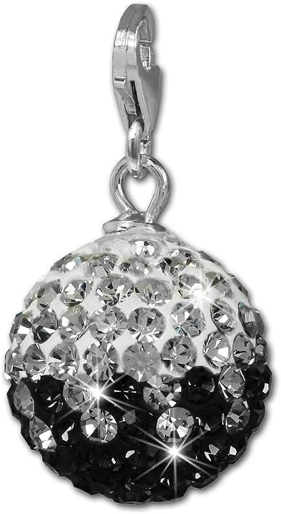 cha/îne boucles doreilles SilberDream GSC219S Boule /à cristaux Swarovski scintillants noirs//blancs Pendentif en argent sterling/925 pour bracelets /à breloques