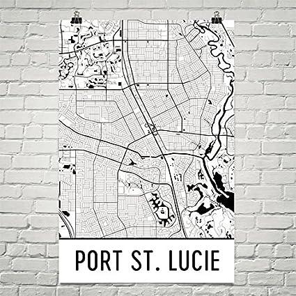 Map Of Port St Lucie Florida.Amazon Com Modern Map Art Port St Lucie Map Port St Lucie Art