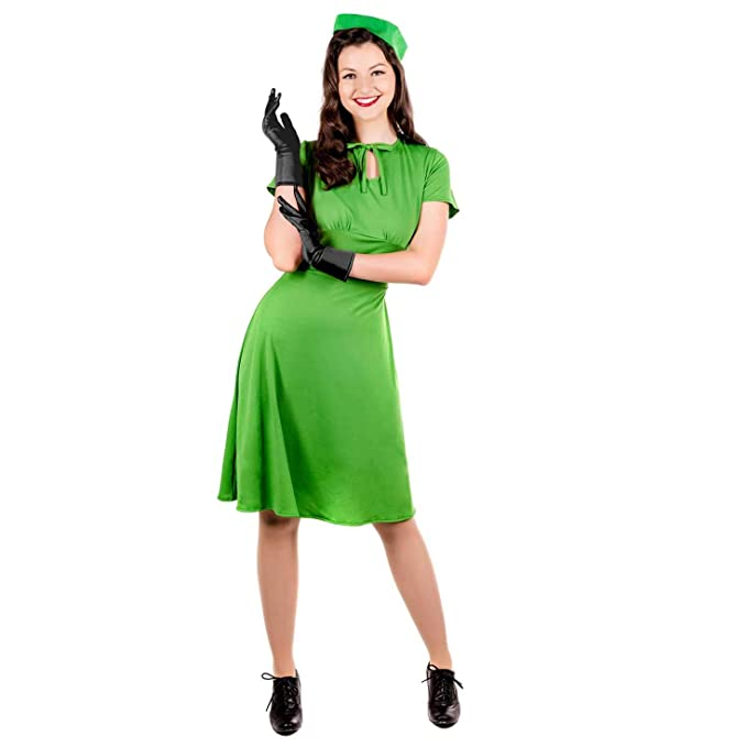 1940s Costumes- WW2, Nurse, Pinup, Rosie the Riveter Womens 1940s Costume Adults WW2 Vintage Retro War Historical Dress $16.99 AT vintagedancer.com