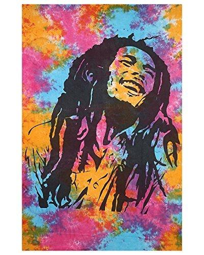 Gokul Handloom Bob Marley Tapestry Tie Dye Multi Color Indian Hippie Wall Hanging Bohemian Bedspread Mandala Cotton Dorm Decor Beach Blanket -