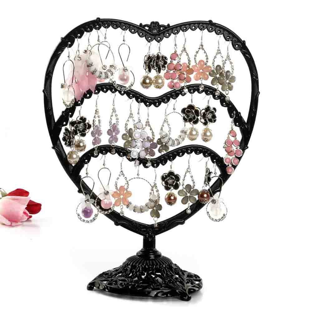 Earring Holder, Botitu 11 inch Tall Jewelry Organizer with 58 Hooks and 3 Tier Earring Tree for Women and Girls Jewelry Stand, Suitable for Dresser, Nightstand, Countertop or Showcase Earring Display (Copper)
