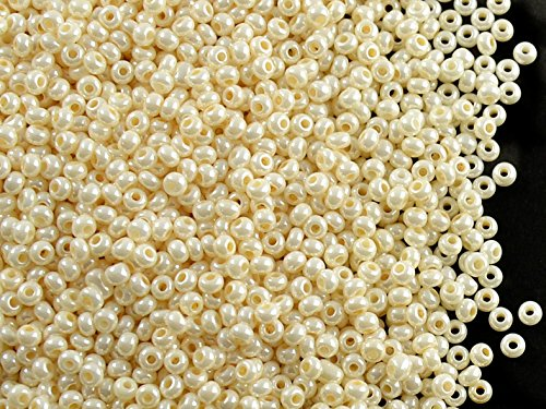 Seed Pearl (20gr (approx. 2600 pcs.) 11/0 Preciosa Czech Glass Seed Beads,Shell Cream Opaque Pearl)