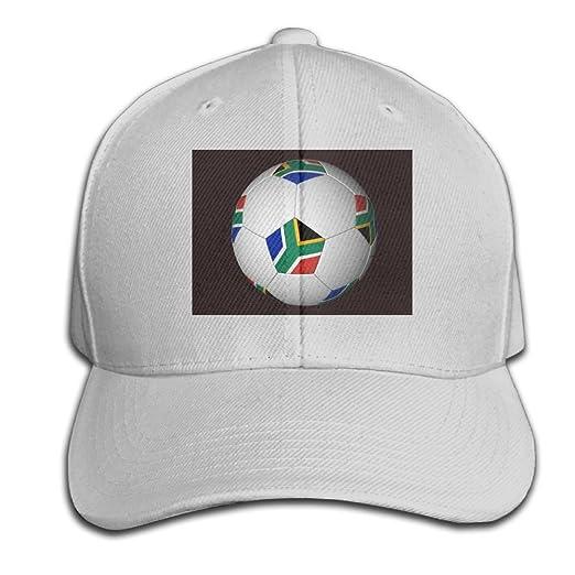 5d3b14affc68b6 Amazon.com: HXXUAN Baseball Hats Soccer Ball with South African Flag  Snapback Sandwich Cap Adjustable Peaked Trucker Cap: Clothing