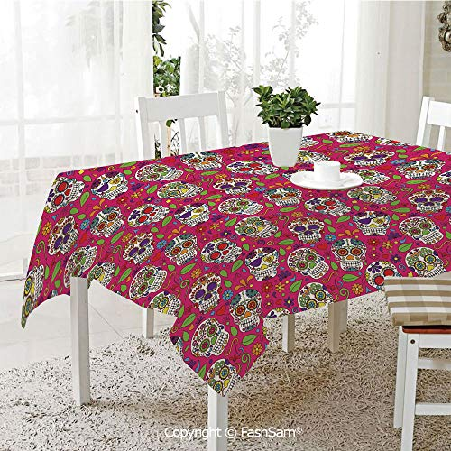 AmaUncle 3D Print Table Cloths Cover Colorful Festive Skulls Leaves Motifs Pirate Cemetery Graveyard Tradition Resistant Table Toppers (W60 xL84)]()