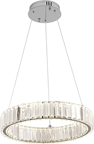 7Degobii Modern Crystal Glass Round Chandelier Fixtures LED Hanging Lamps 1 Ring D15.7″ 25W 1500lm 4000K Dimmable Dining Room Ceiling Light