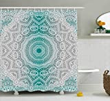 Grey and Teal Shower Curtain Ambesonne Grey and Teal Shower Curtain, Mandala Ombre Sacred Geometry Occult Pattern with Flower Lines Display Artwork, Fabric Bathroom Decor Set with Hooks, 70 Inches, Teal Grey