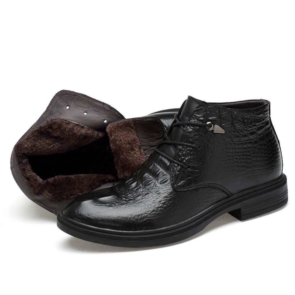 FuweiEncore FuweiEncore FuweiEncore Herren Stiefeletten, Casual Grade Crocodile Print OX Leder High Top Formale Schuhe (warme Velvet optional) (Farbe   Warm schwarz, Größe   41 EU) (Farbe   Wie Gezeigt, Größe   Einheitsgröße) 2410ec