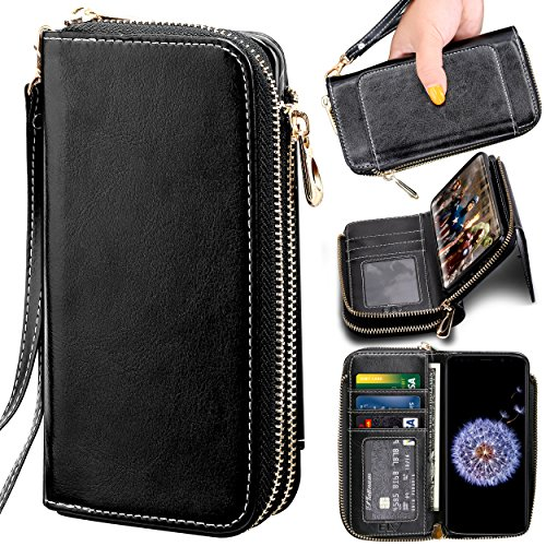 Samsung Galaxy S9 Plus Wallet Case, ELV [PU Leather] Premium Detachable 2in1 Folio Wallet Purse Samsung S9 Plus Credit Card Flip Case Protective with Card Slots, Stand and Magnetic Closure (Black)