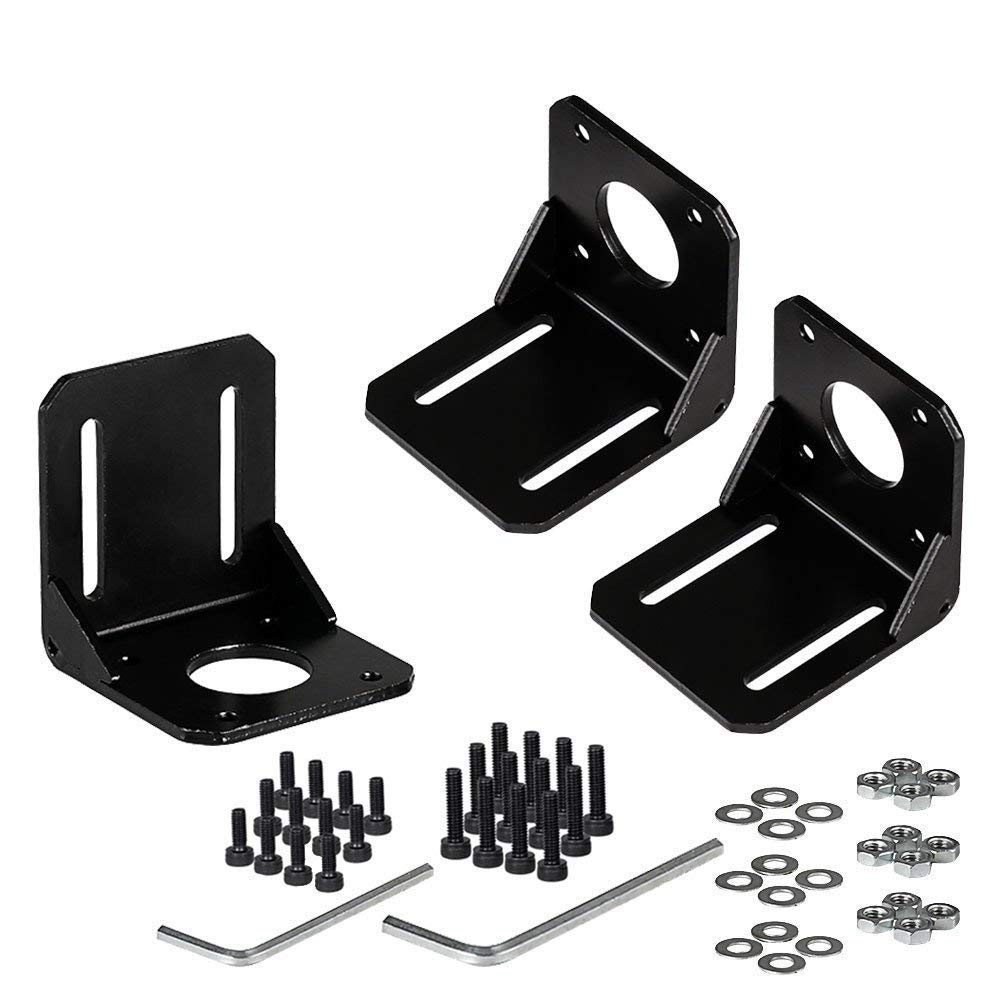 Stepper Motor Mounting Bracket, 3PCS Alloy Steel L Bracket for Nema 17 Stepper Motor with Screws and Inner Hexagon Spanner