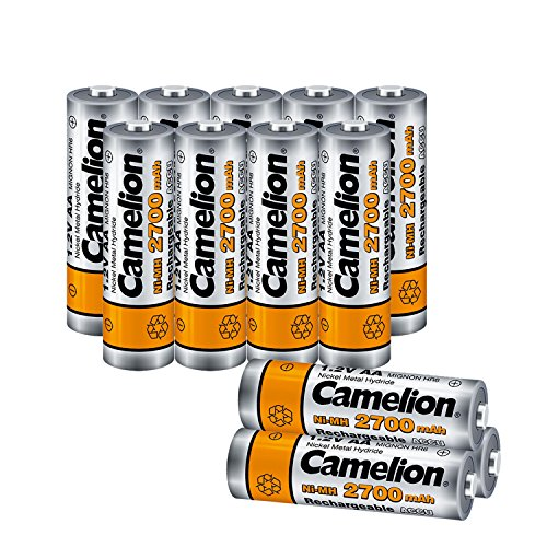 (Camelion AA 2700mAh High Capacity NiMh Rechargeable Batteries (12 Count) pre-Charged with Battery Storage Box for high Drain Devices, Toys, shavers, Gaming Controls, Camera Flashlight,)