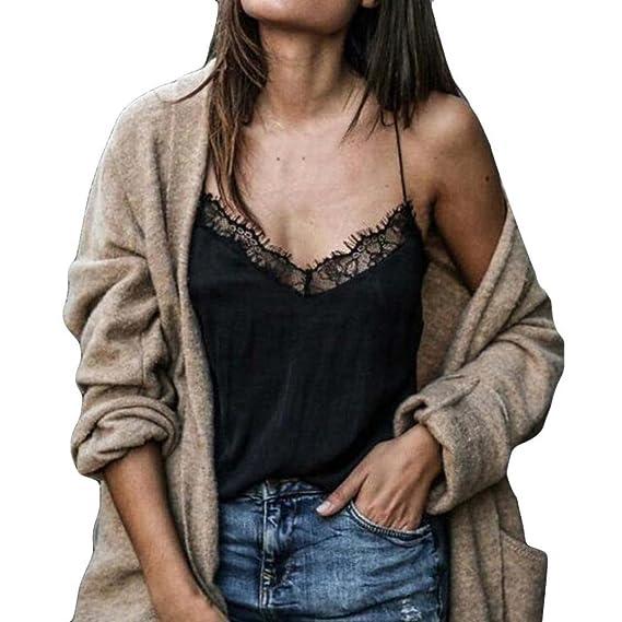 2018 Longra Moda para mujer de encaje de algodón Sexy chaleco Camisola sin mangas camiseta Casual