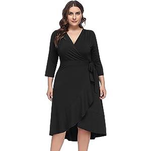 33f93c15871 Hanna Nikole Women s Plus Size V Neck 3 4 Sleeve 1950s Vintage Style ...