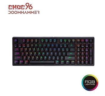 Doomhammer Choc 96 Mechanische Gaming-Tastatur – True RGB Hintergrundbeleuchtung, Hot Swappable Tasten, NKRO Schwarz schwarz