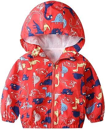 JinBei Niños Cazadora Niño Bebes Casual Chaqueta Primavera Y Otoño Abrigo Fino Cartoon Impresión Corto Chaqueta A Prueba De Viento con Cremallera1-7 Años