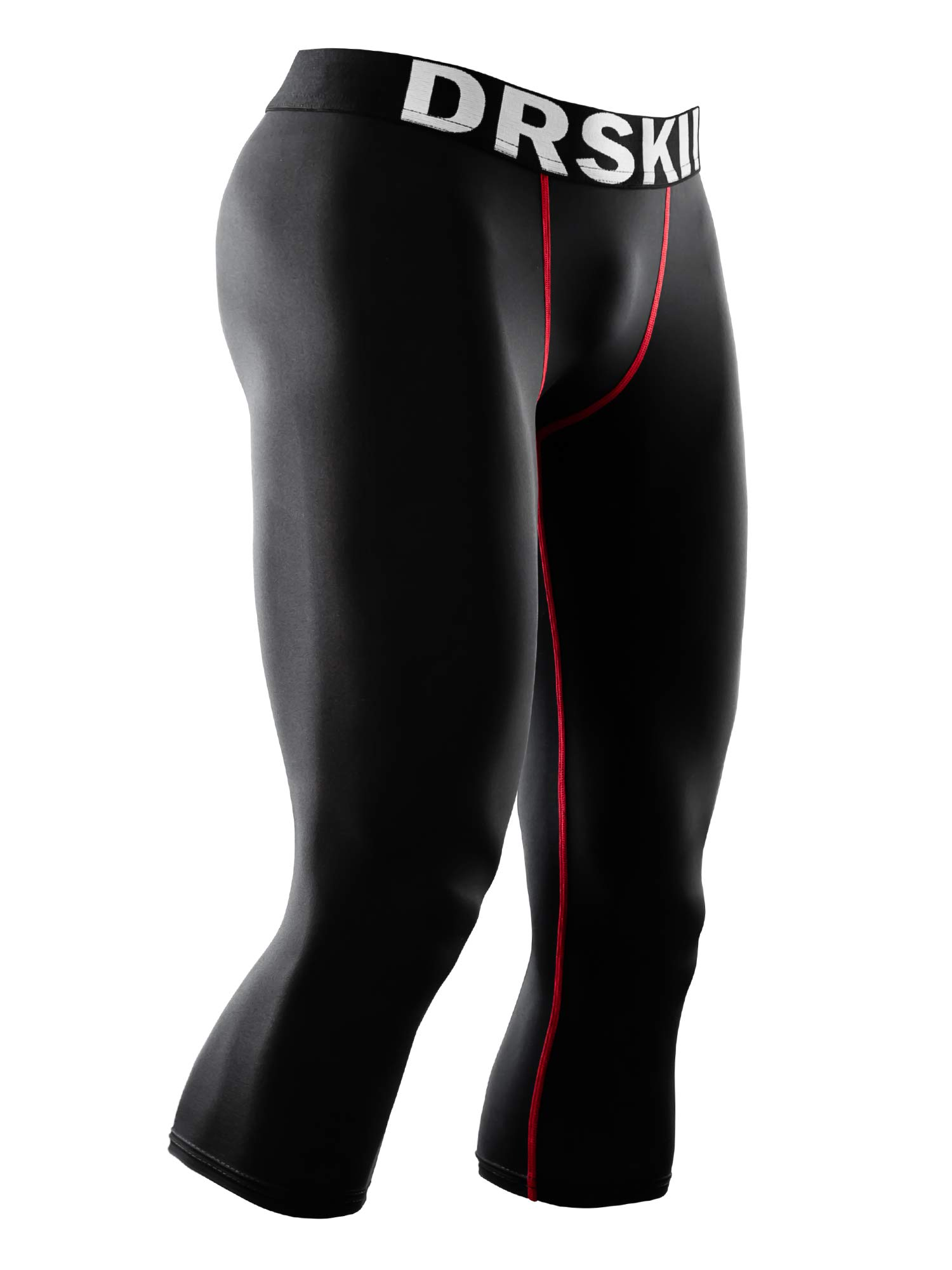 DRSKIN Men's 3/4 Compression Tight Pants Base Under Layer Running Shorts Warm Cool Dry (Line BR806, L) by DRSKIN
