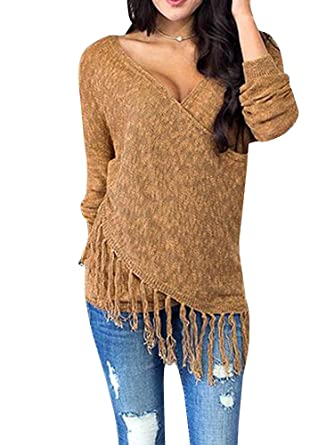 3a58cb50fb Farktop Womens Wrap Crossover Sweaters V Neck Fringe Long Sleeve Long Knit Pullover  Jumpers (Brown