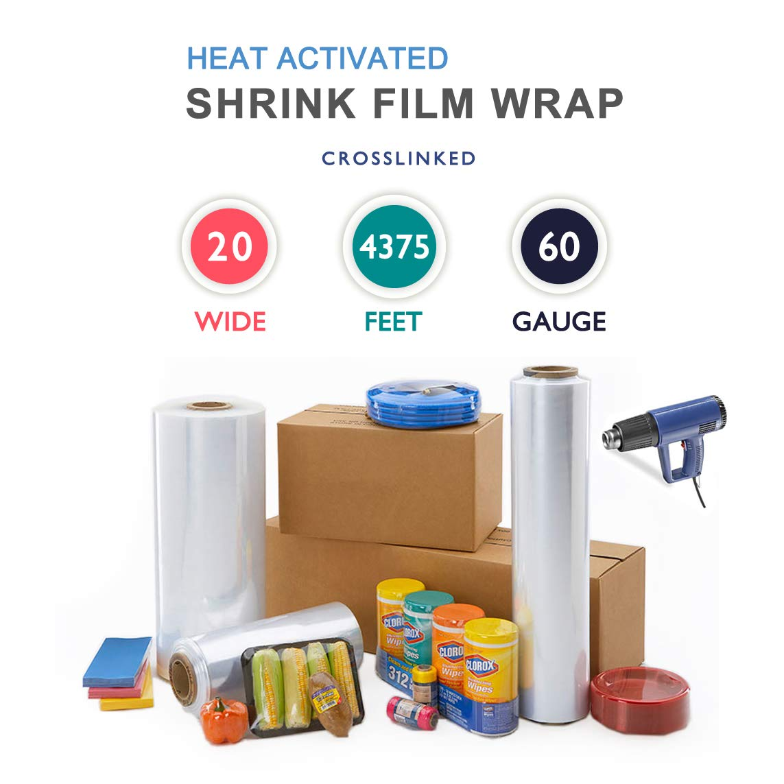 20'' x 4375 ft. Heat Shrink Film Wrap Strong Centerfold Polyolefin 60 Gauge Cross-Linked Heat Activated Shrink Wrap, 1 Roll