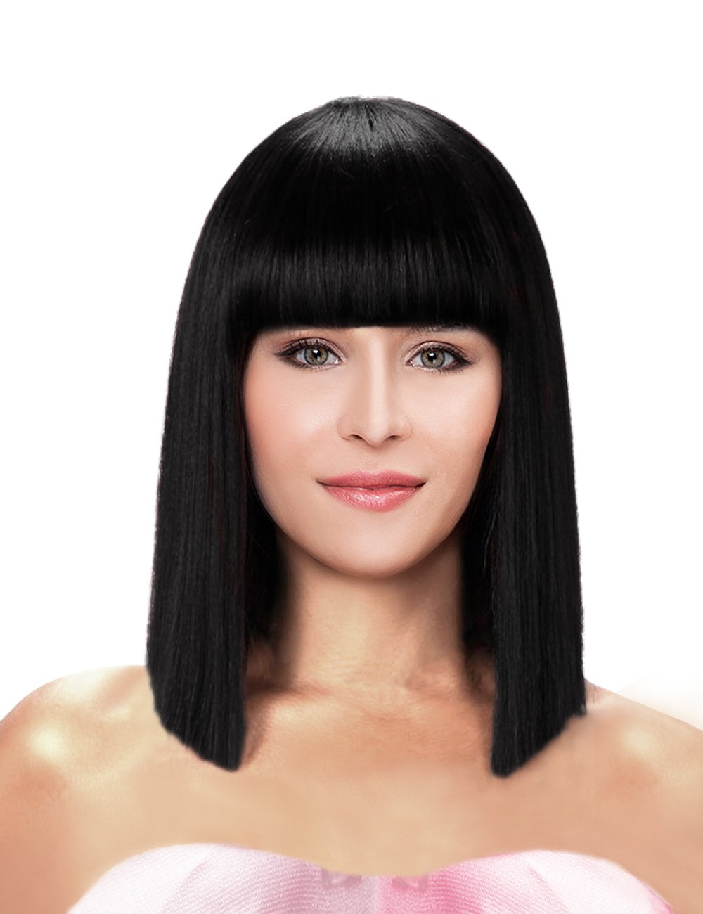 Kalyss Short Straight Shoulder Length Black Yaki Synthetic Bob Hair Wig  Heat Resistant Full Hair