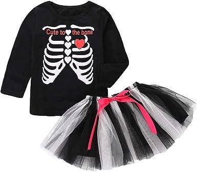 MAYOGO Conjunto de Niña Halloween Disfraz Camiseta Calaveras Manga ...