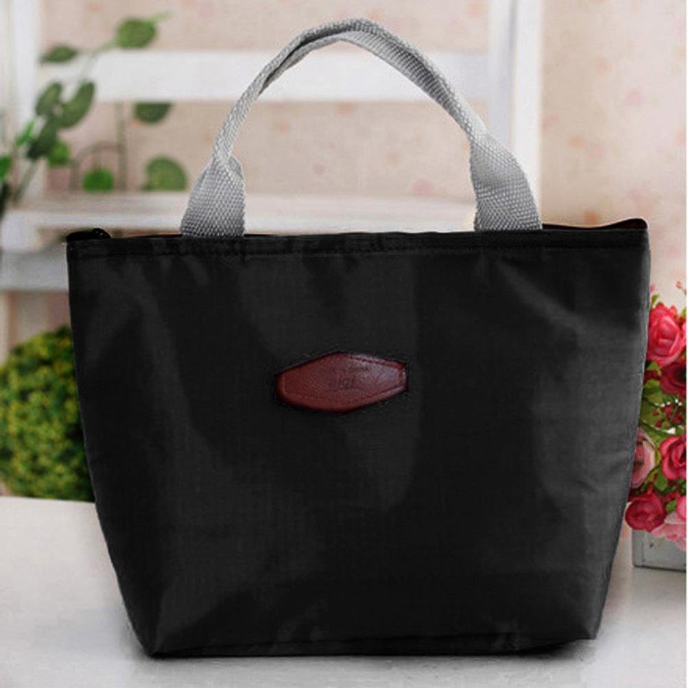 Waterproof Portable Picnic Insulated Food Storage Box Tote Zipper Lunch Bag Lunch Container Package Packet (221018cm, Black) Makaor