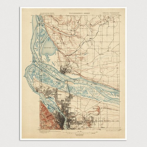Old Portland Map Art Print 1897 Oregon - USGS Topographic Map - Archival Reproduction - 1897 Map