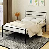 Metal Bed Frame Platform with Headboard and Footboard Steel 12 Legs Mattress Foundation Box Spring Replacement for Kids Adult Black Queen Size
