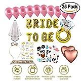 Bridal Shower Decor - Bachelorette Decoration Gold Bachorlette Party Supplies   Sash for Bride, Veil, Diamond Ring, Bride to Be Balloon, Gold Hairband