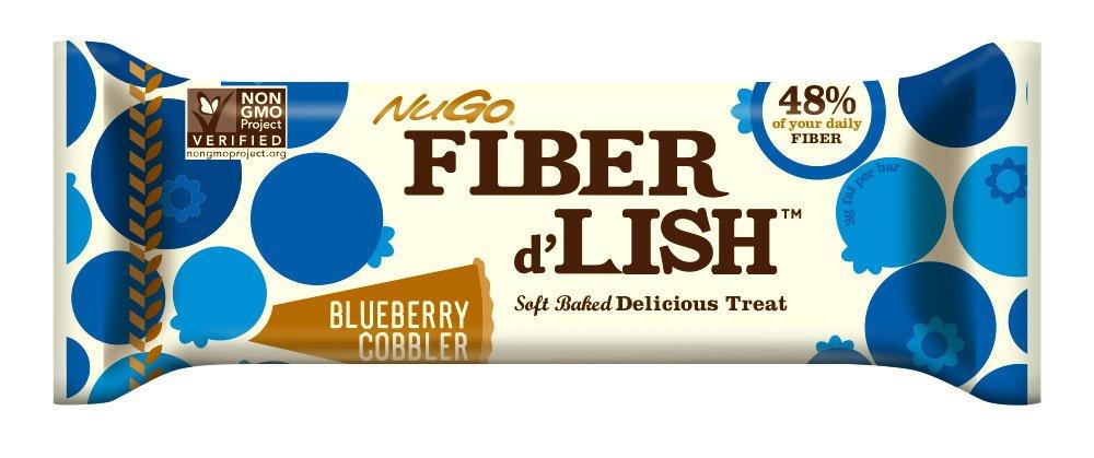 NuGo Fiber d'Lish Bar, Blueberry Cobbler, 1.6 Ounce, (Pack of 16)
