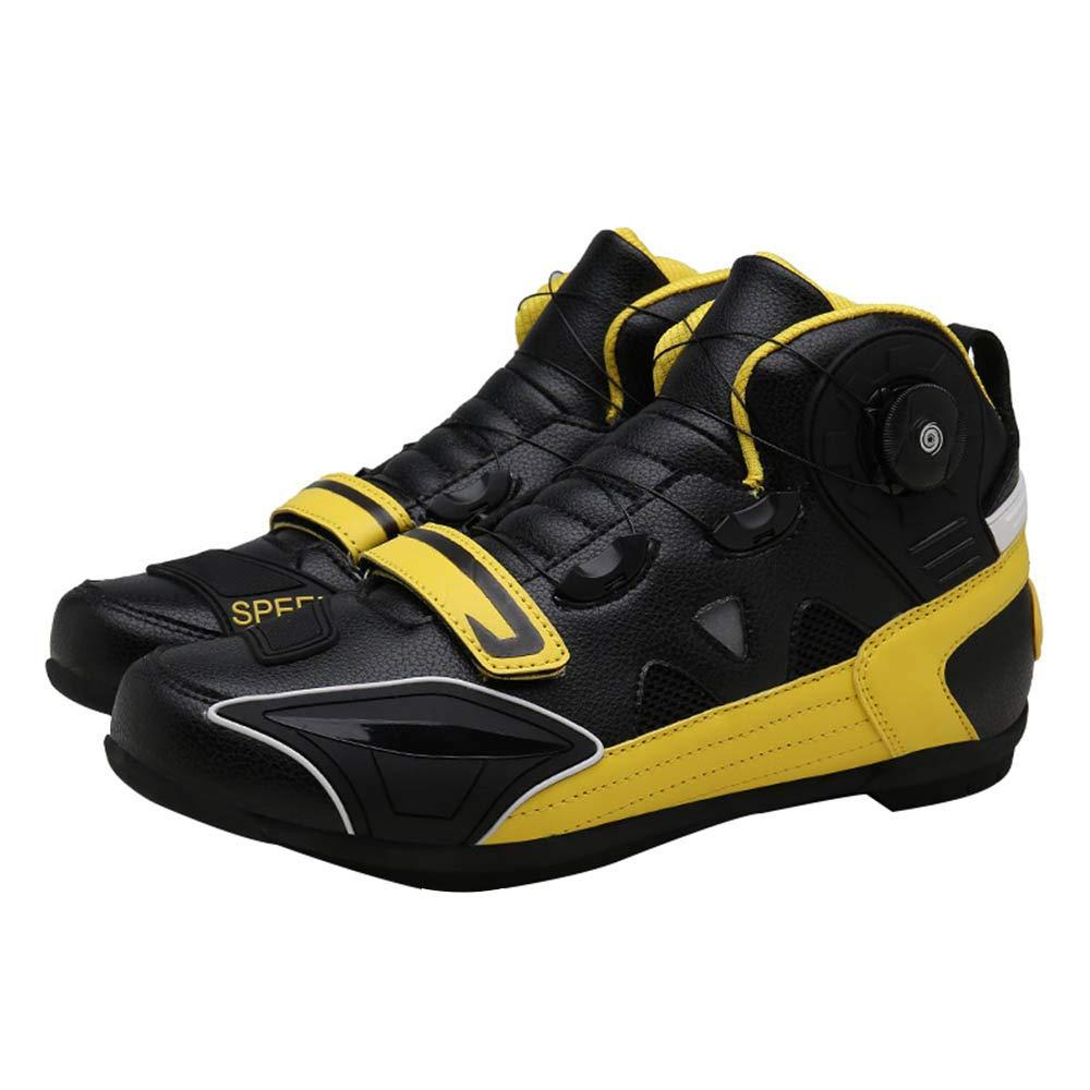 男性と女性のためのサイクリングシューズ、カジュアル滑り止めノンロックハードボトムライディングアシストシューズ、サイクリング自転車アウトドアスポーツシューズ愛好家の靴/マウンテン/ロードバイク 43 Yellow B07RKQM3TT