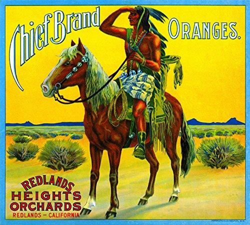 A SLICE IN TIME Redlands Chief Orange Citrus Fruit Crate Box Label Art Print (Art Box Label)
