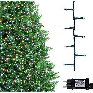 ANSIO Luci natalizie per interni e esterno 500 LED albero luci Multi colore, 8 modalità con memoria e funzione timer, alimentate, trasformatore incluso 12,5 m Lunghezza illuminata- CAVO VERDE 8 spesavip