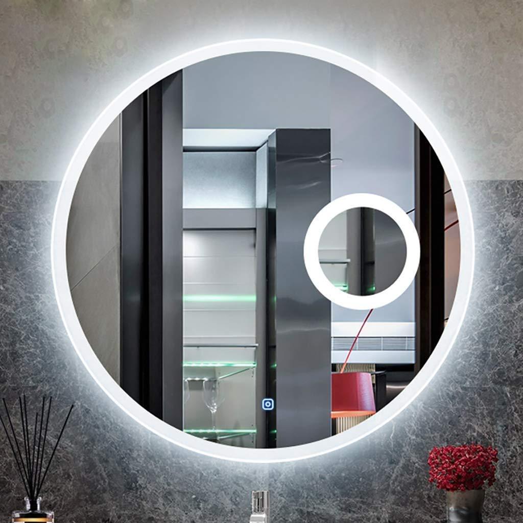 SDK Specchio da Bagno Rotondo a LED Luminoso Specchio da toeletta Moderno a Parete con luci Lente dIngrandimento 3X 3 Misure Disponibili Dimensioni : 60CM