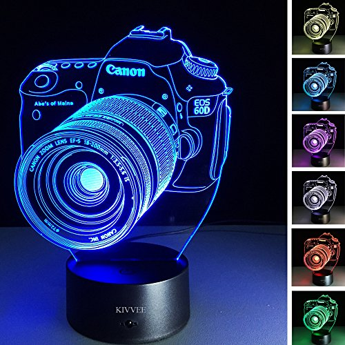 3D Lamp Camera Gift Acrylic Table Night light Furniture Decorative colorful 7 color change household Home desk Accessories (Camera Lamp)