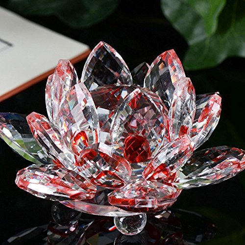 Hot Sale!DEESEE(TM)Lotus Crystal Glass Figure Paperweight Ornament Feng Shui Decor Collection (C)