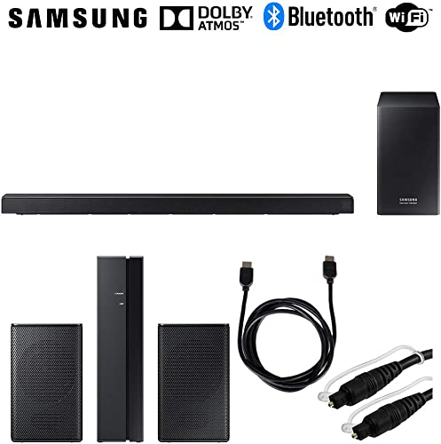 Samsung HW-Q60R 360W Virtual 5.1-Channel Soundbar System Rear Speakers Bundle Includes, SWA-8500S ZA Wireless Rear Speakers Kit, 6ft HDMI Cable 6ft Optical Toslink 5.0mm OD Audio Cable