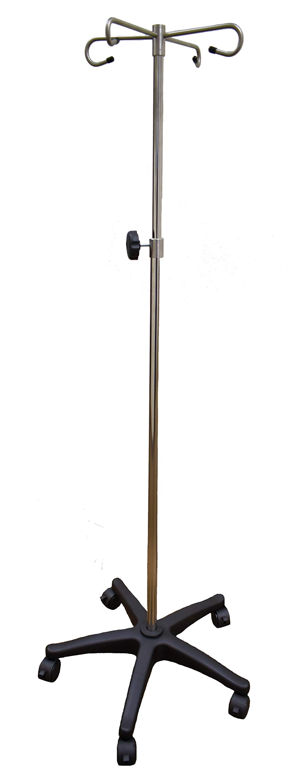 IV Pole with Quad Ram Hook and 5-Leg Polymer Base with 5 Locking Casters