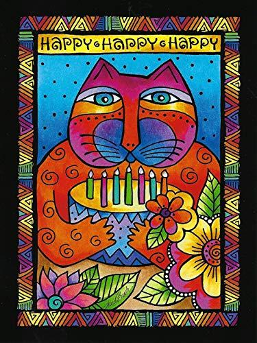 Leanin' Tree Greeting Card - Laurel Burch Birthday Card - Birthday Cake Cat