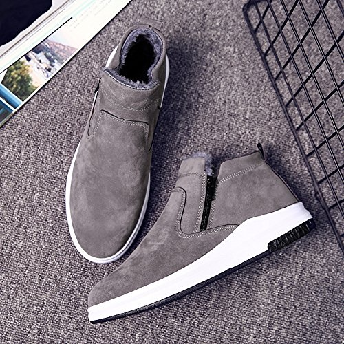 Men's Shoes Feifei Winter Keep Warm Non-Slip Thickening Cotton Boots 3 Colors (Color : Gray, Size : EU39/UK6/CN39)