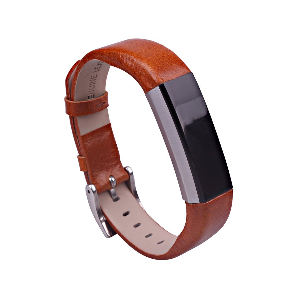 for Fitbit Alta Strap Sport Full Grain Cow Leather Wristband Replacement Genuine Leather Watchband Brown