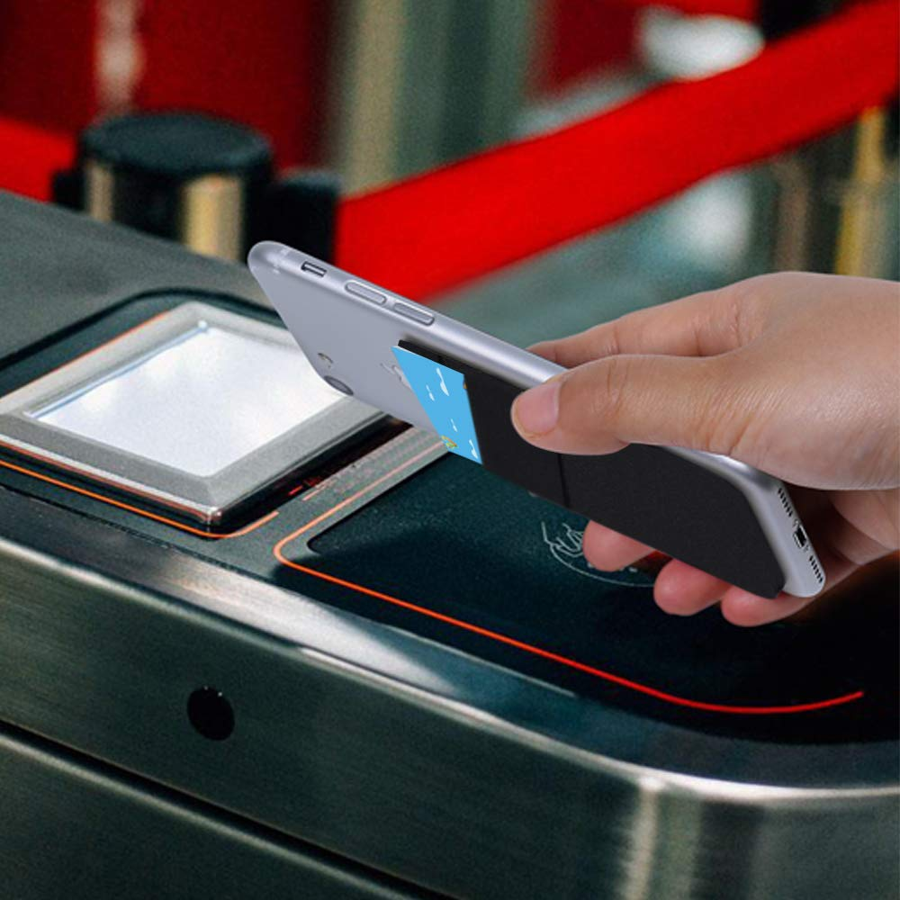 AFUNTA-Cartera para tarjetas de tel/éfono celular para tarjetas de identificaci/ón 4 unidades color negro//rosa//gris tarjetas de cr/édito compatibles con la mayor/ía de tel/éfonos inteligentes de licra