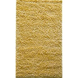 ADGO Chester Shaggy Collection Moroccan Trellis High Soft Pile Carpet Children Bedroom Living Room Shag Floor Rug (5' x 7', S22 - Corn Yellow)