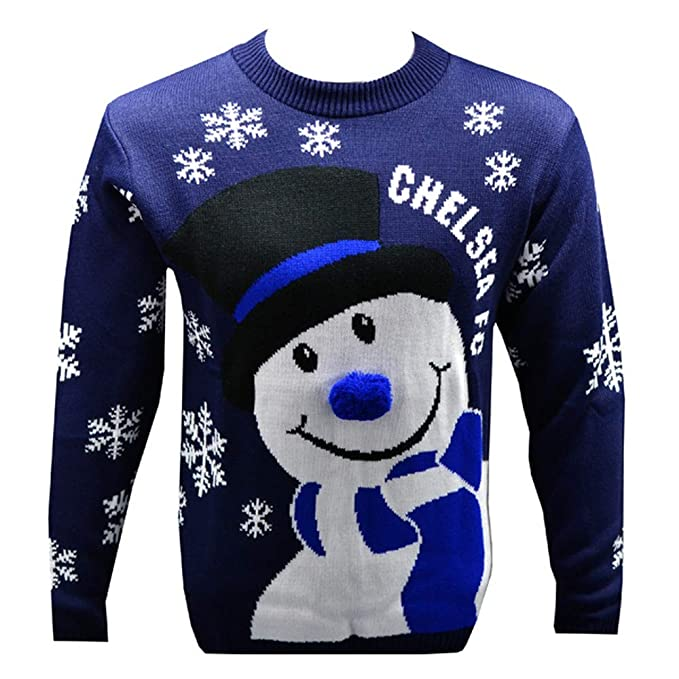 Chelsea Fc Official Novelty Christmas Snowman Jumper 2018 2019 Sizes S To 3xl