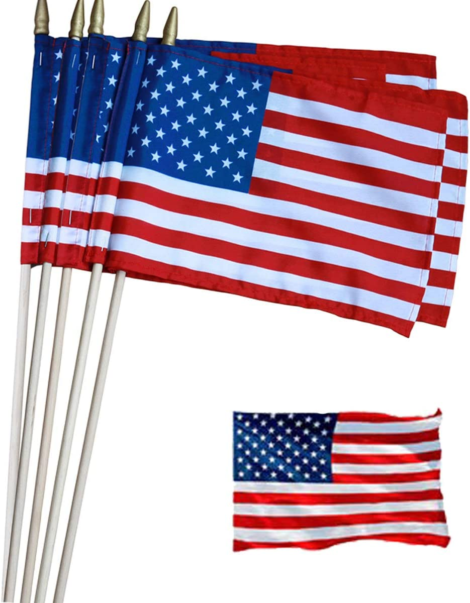 """Pack of 24 - US Stick Flag Standard 8 x 12 Inch Spearhead Handheld American Stick Flags on 24"""" Wood Sticks - Grave Marker USA Flag with Spear Tip & Sewn Edges"""