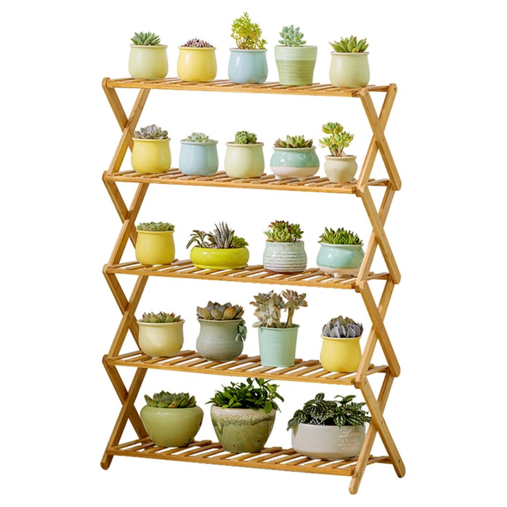QARYYQ Flower Stand Free Installation Pot Rack Solid Wood Multi-Layer Folding Display Rack Display Rack Shelf Flower Stand
